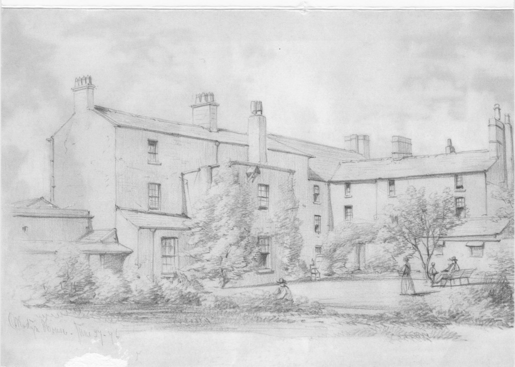 A sketch of the school from the gardens, 1876
