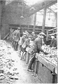 The hand-picking of coal from a picking-belt, Murton Colliery, Yorkshire [c1900] Source : 'The Preparation of Coal for the Market',     Henry Louis, 1928