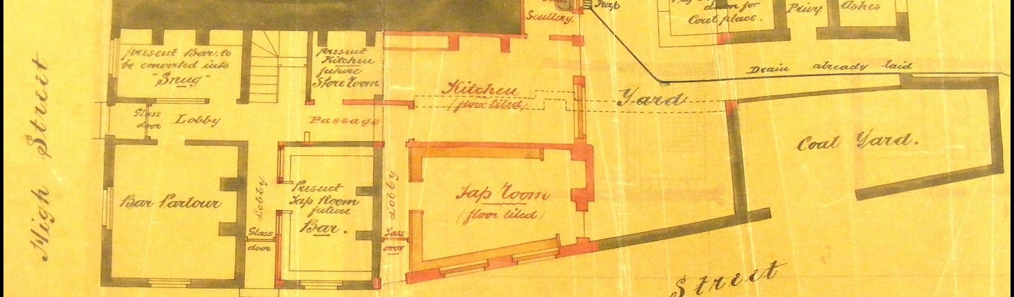 Plan for the 1860s alterations, the red parts are proposed new additions.