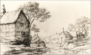 A drawing by Mariamne Congreve shows Barrows house on the left, on the corner of what is now Well Lane.