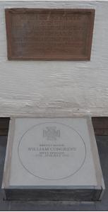 The Congreve memorial stone below the Gladstone plaque.