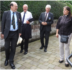 Lieutenant Colonel Andrew Trelawny, Ben Stephenson, Lieutenant Colonel Nick Jenkins and the Reverend Cathy Helm following the visit to the church.