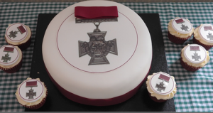The commemoration cake and cupcakes decorated with an image of the Victoria Cross