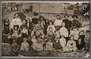 Sunday School Mission on Parkgate Shore by Customs House. Lizzie on extreme top left in grey gymslip aged about 11