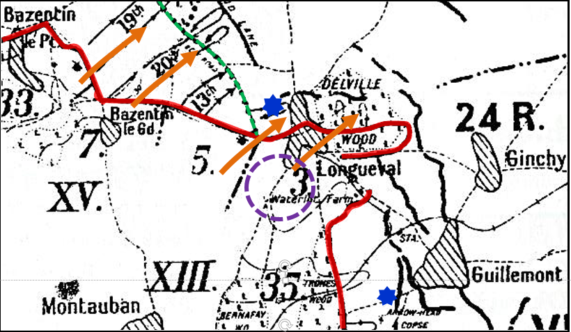 The area of the Somme around Longueval and Delville Wood on the 19 / 20 July 1916